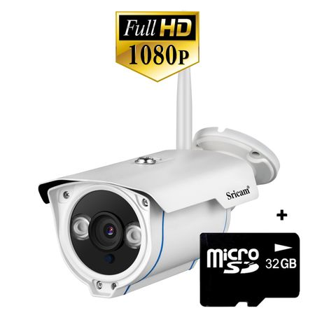 Camera de supraveghere WiFi Sricam TM SP007 Pro, exterior, 2MP, night vision, rezistenta la apa, FullHD, senzor miscare, alb, pachet bundle la pret bun