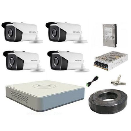 Kit sistem profesional 4 Camere supraveghere FULL HD 40 m IR HIKVISION complet + accesorii + hard 1TB ieftin